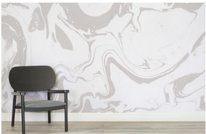 Gray and White Marbleized Wallpaper Mural