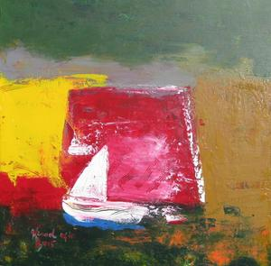 Sail Boat On The Horizon Acrylic On Canvas 80x80cm