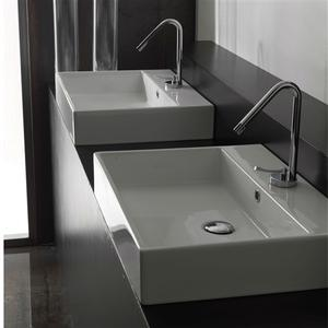 Modern Rectangular Ceramic Vessel Bathroom Vanity Sink with Single Hole