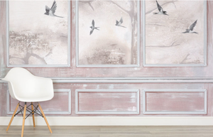 Coral Birds Painted Panels Wall Mural