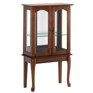 Simply Elegant Curio Cabinet With Glass Doors And Graceful Legs
