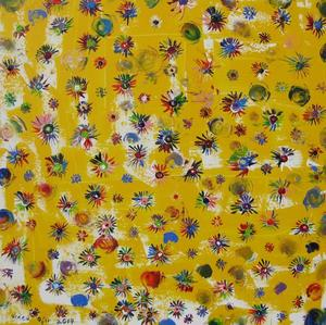 Crazy Quilt/ Flower Field (Yellow) on canvas painting art 80X80cm