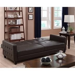Upholstered Rich Brown Tufted Faux Leather Sofa Bed Futon
