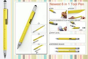 6 in 1 Multitool with Spiritlevel, Screwdriver, TouchPen, Scales, Ball pen
