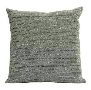 Metallic Gray Black Beaded Cushion Cover