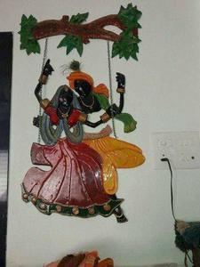 Radha Krishna Wooden Mural Art Hanging