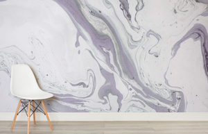 Purple and White Marbleized Wallpaper Mural