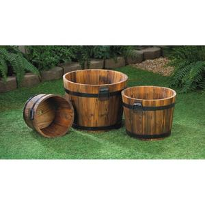 Apple Barrel Planter Trio - Garden Decorative Accessory