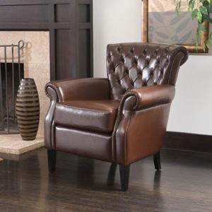 Franklin Leather Club Chair - Arm Brown Leather Chair