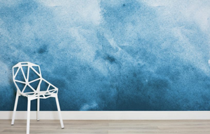 Blue Grunge Watercolour Paint Wallpaper Mural