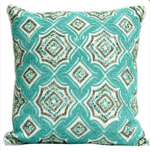 Cushion Cover With Light Teal And Silver Beads