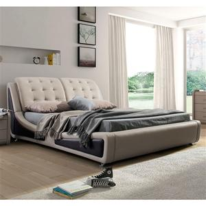 King size Light Brown Tan Faux Leather Upholstered Bed with Headboard