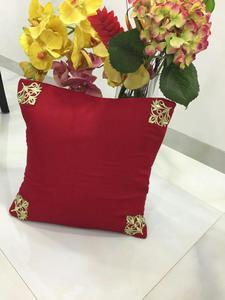 Red Color Cushion With Elegant Gold Design