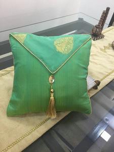 Green Chanderi Silk Cushion