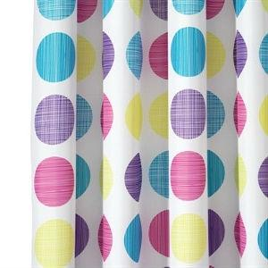 Retro Polka Dots White Yellow Purple Blue Pink Fabric Shower Curtain