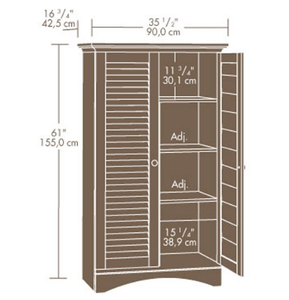 Louver 2-Door Storage Cabinet Bed Bath Armoire Wardrobe in Antique White