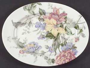 "14"" Oval Serving Platter in English Tapestry by Oscar De La Renta"