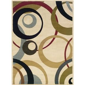 Beige Olive Sea Foam Multi-Color Geometric Circles Area Rug (5' x 7'3)