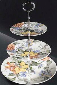 3-Tiered Serving Tray in English Tapestry by Oscar De La Renta