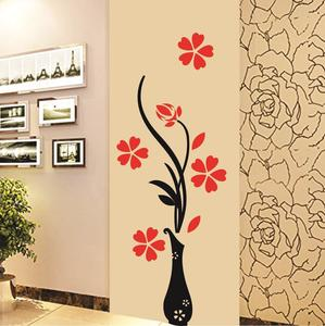 Pvc Wall Stickers Beautiful Vase and Flowers