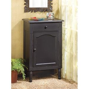 Antiqued Black Wood Cabinet - A Handy Nightstand