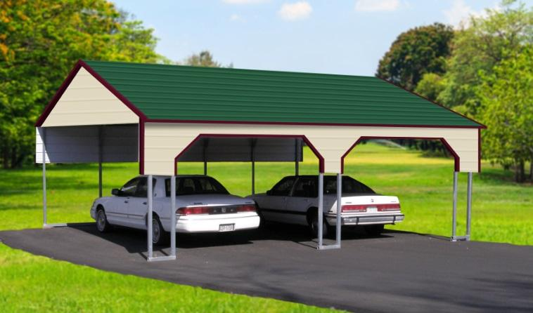 Boxed Eave 2 Car Side Entry Metal Carport