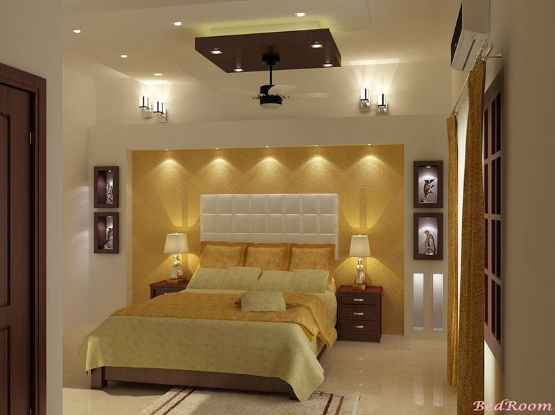 Yellow And Brown Bedroom Design