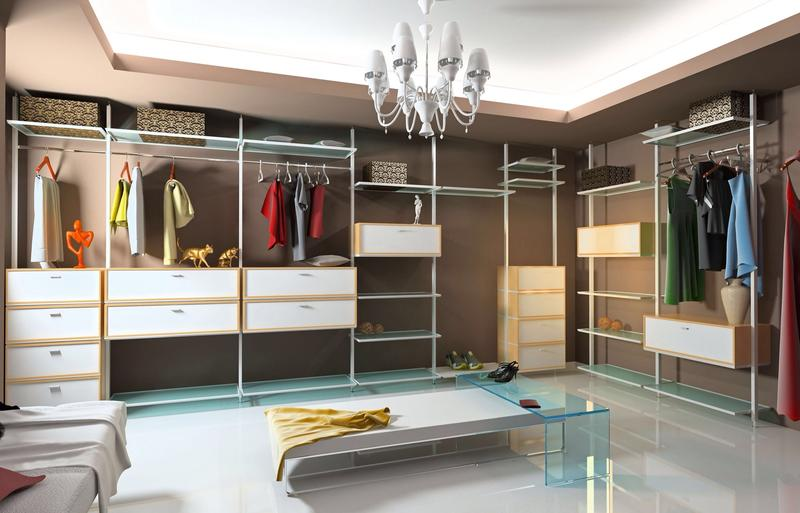 Dressing room walk in closet with modular wardrobe designs - Room with no closet ...