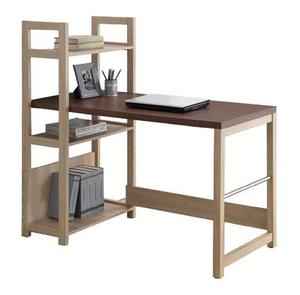 224d331658e Afydecor Study Table with Vertical Attached Bookshelf - Brown